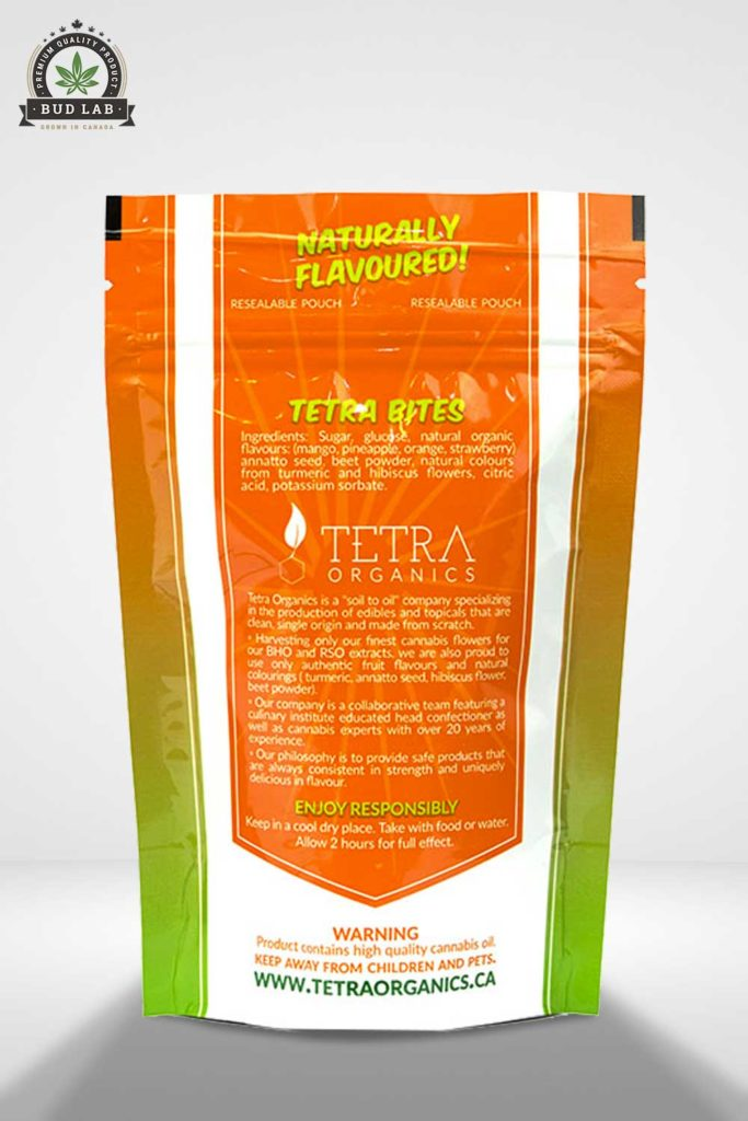 Bud Lab Tetra Organics Indica Marijuana Gummies, package view
