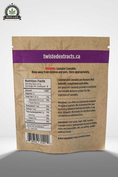 Twisted Extracts Caramelts Gourmet Caramel BudLab, back view