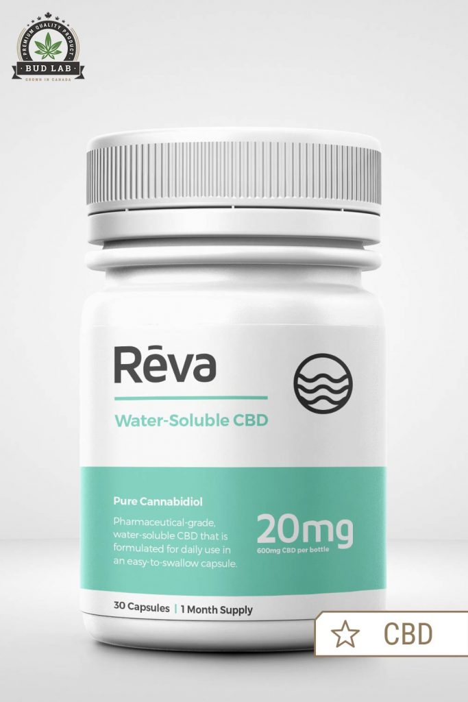 BudLab Reva Water Soluble CBD 30 Capsules, Front View