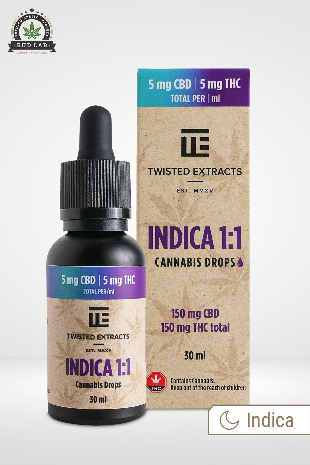 Twisted Extracts Indica 1:1 Cannabis Drops 30ml