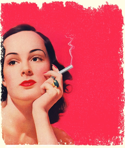 Retro Woman Holding A Joint In Hand