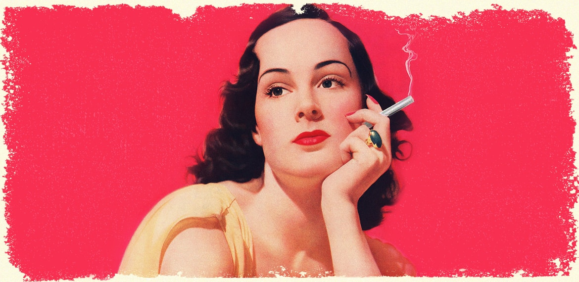 Retro Woman Holding A Joint In Hand, Banner