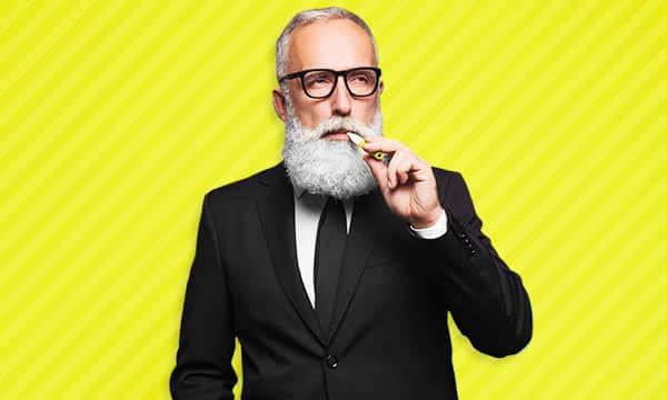 Bearded Man Smoking Cannabis