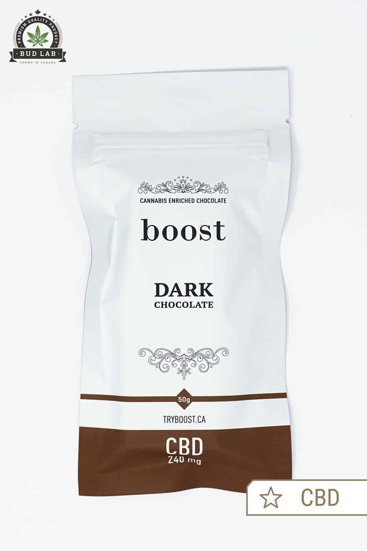 Boost Edibles CBD Dark Chocolate Bar Front